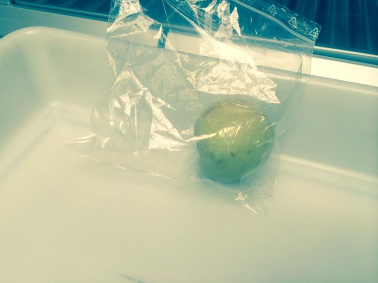#food An apple in the security plastic bag provided by the airport for the metaldetector check of objects, Rome