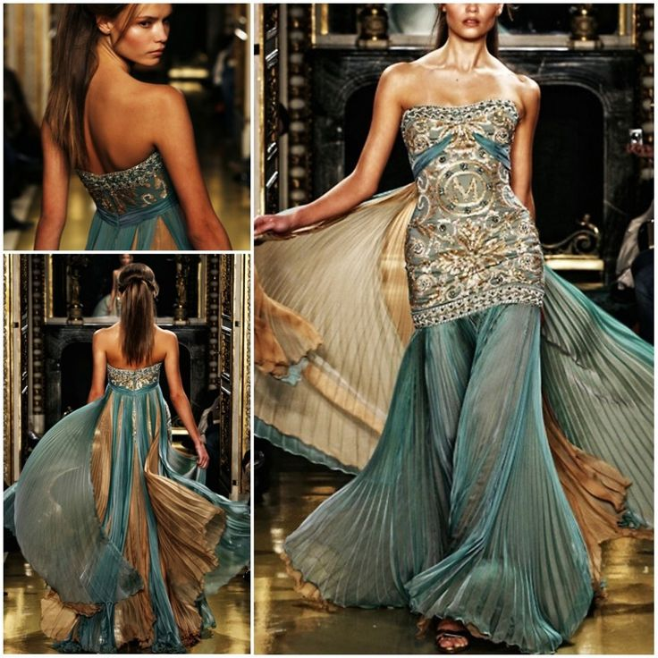 Teal Wedding Gown: Mermaid Green Gold Beaded Embroidery Chiffon