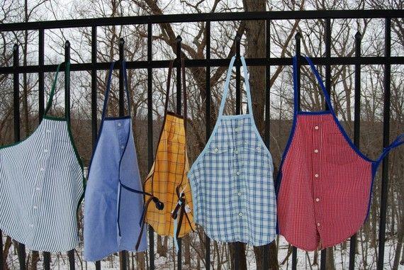 Upcycled Dress Shirt Apron by shopsouthernyankee on Etsy, $15.00