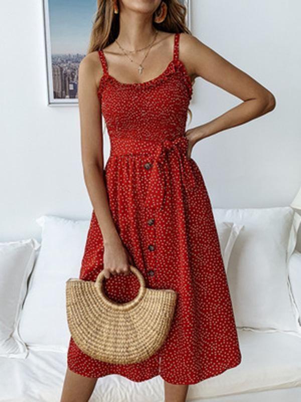 Simple 3 Colors Polka-dot V-neck Midi Dress