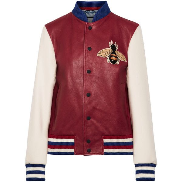 Gucci Appliquéd leather and wool bomber jacket ($3,110) via Polyvore featuring outerwear, jackets, gucci, claret, real leather bomber jacket, red bomber jacket, leather flight jacket, leather jackets y patch leather jacket