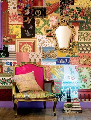 patchwork wall- great inspiration, now where and how much.  Thinking maybe those insulation foam boards I pinned earlier to control the chaos I love of this mix of patterns.