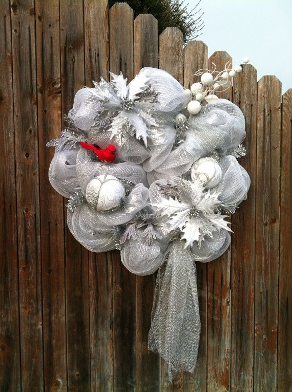 Deco Mesh Christmas Wreath White Silver Red Holiday Decor ...