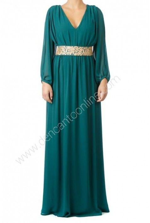 vestido largo cinturon flocado http://www.dencantoonline.com/vestidos-largos/1216-vestido-largo-cinturon-flocado.html