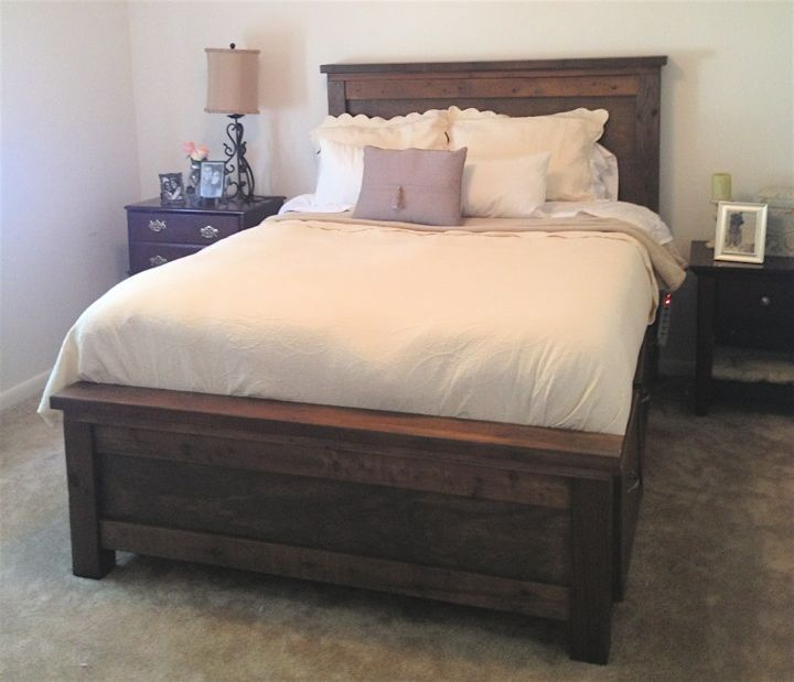 Farmhouse Storage Bed Queen   Do It Yourself Home Projects from Ana White