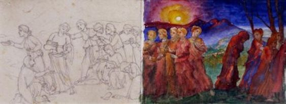 The Wise and Foolish Virgins by Phoebe Anna Traquair/ Water+Pigment+Paper Exhibition at the AGGV