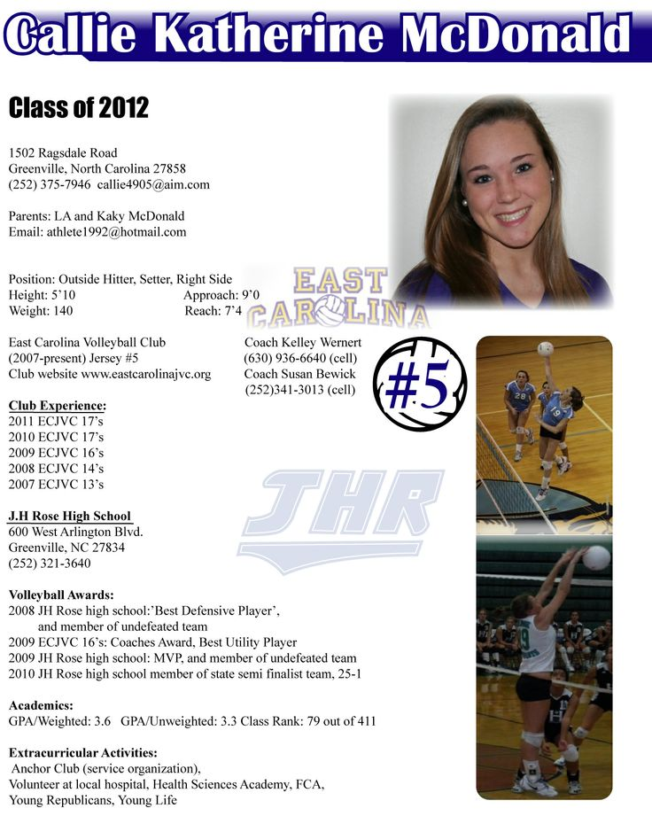 Callie Recruiting Flyer Resume College Recruiting High School Resume College Cheer