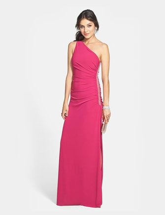 LAUNDRY BY SHELLI SEGAL Beaded Panel One-Shoulder Jersey Gown
