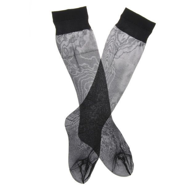 OSÉ Sheer Knee Highs Set of 3 (7.285 CRC) ❤ liked on Polyvore featuring intimates, hosiery, socks, accessories, lingerie, knee length socks, see through socks, transparent lingerie, sheer socks and knee high socks