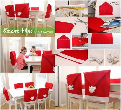 How to sew Santa hat chair cover step by step DIY tutorial instructions / How To Instructions