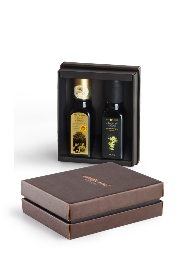 """$12.90  - Oil gift set """"Bijoux"""" - Selection containing: ▫ 1 bottle of extra virgin olive oil 100% italian """"Amore dei Sensi"""" 0,10L. #Typical of #Abruzzo, fruitage is mild, bitter and spicy are perfectly balanced. Great for fish, cheeses made with cow's milk and salads.▫ 1 bottle of extra virgin olive oil PDO (DOP) """"Secoli D'Amore"""" 0,10L. A Superb oil typical of Abruzzo .Flavorful, bitter and spicy are well perceptible. Ideal for grilling meat, goat and sheep cheeses, fish soups and legumes…"""
