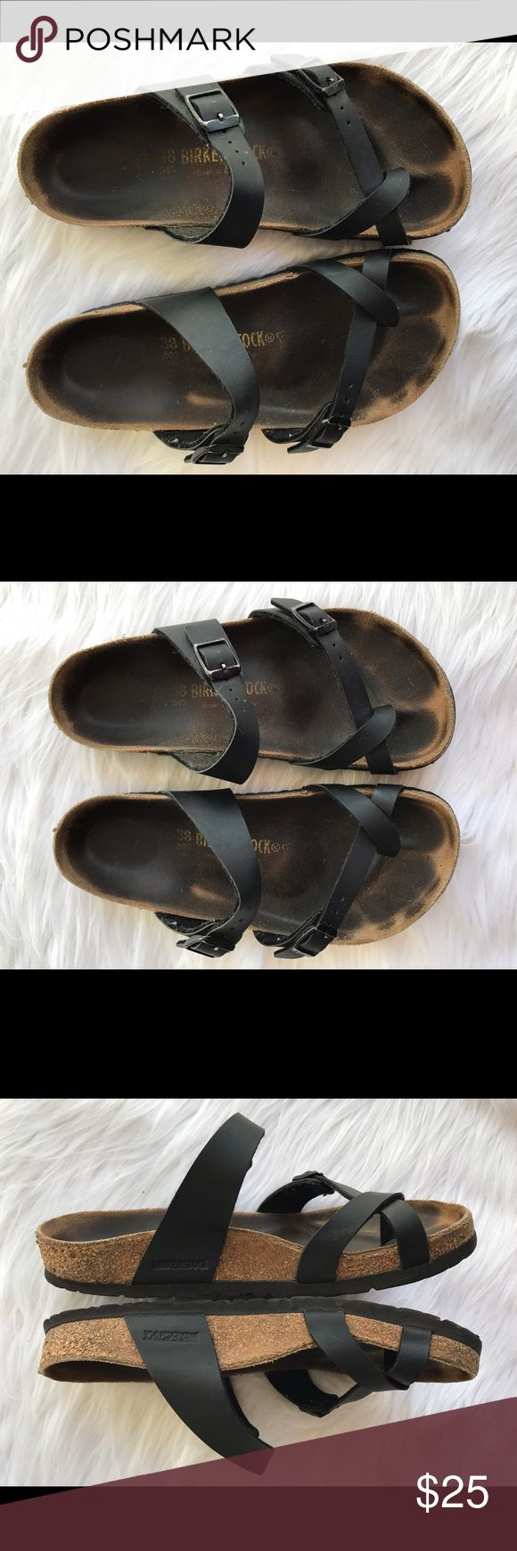 Black Birkenstock Mayari strapy sandals SZ 38 Black Birkenstock Mayari strapy sandals SZ 38 size 7 have been used they still have tons of life left Birkenstock Shoes Sandals