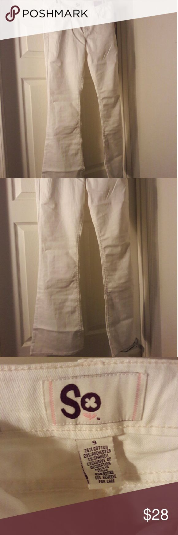 White bootcut pants Is your child giving a presentation in school? Are you going to JA BizTown to learn about finances?  (And if you're 7 or 8 I advise you to learn more about investment and how to spend your money smart. Never too young to learn!)   These white jeans pants work great with a blazers giving you a cute professional look! SO Jeans Boot Cut