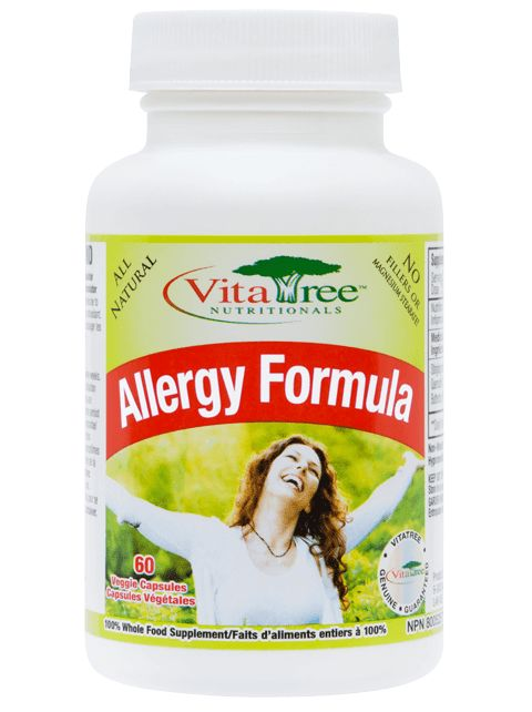 Natural Allergy Relief  VitaTree Allergy Formula is a revolutionary allergy symptom reliever that is completely natural, non-drowsy and stops the symptoms of allergies in their tracks. Whether it is seasonal allergies, or allergies to common household irritants such as pets, dust, mould and foods, the allergy formula is designed to lessen and often eradicate the symptoms of allergies, naturally and without any negative side effects.