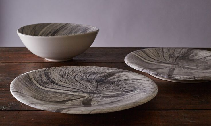 Woodcut plates and bowl
