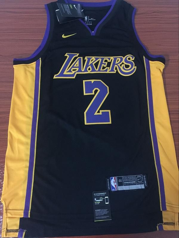 Mens  2 Lonzo Ball Jersey Black Los Angeles Lakers Jersey Swingman Fanatics 0bbf931c7