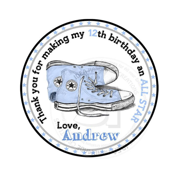"Custom Stickers ALL STAR converse Thank you Birthday Stickers-tags- Pink or Blue All Star Sneakers Thank you 2.5"" Stickers by StudioIdea on Etsy"
