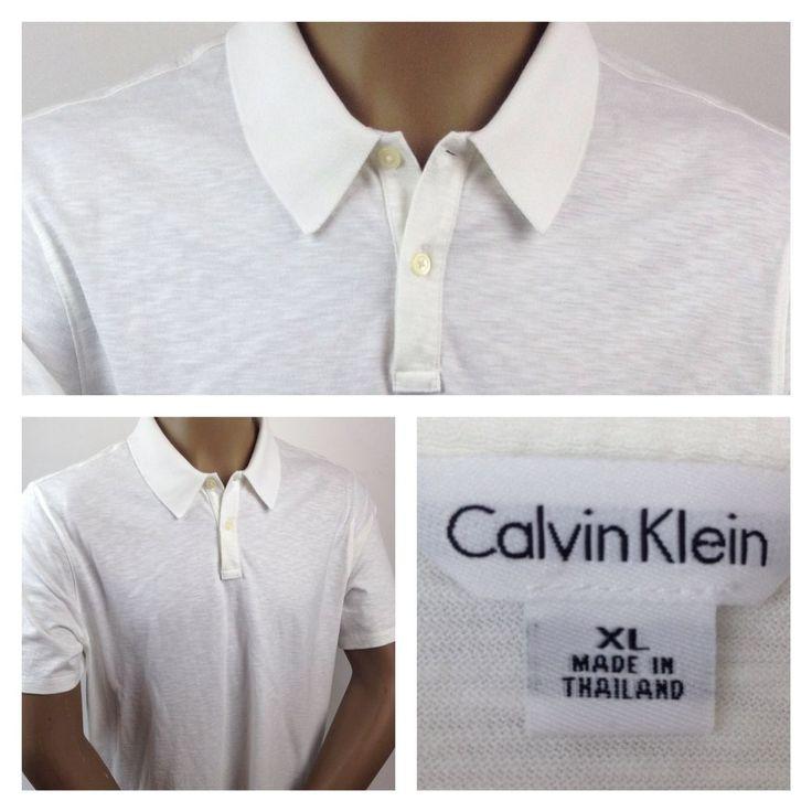 Calvin Klein Men's Polo Golf Shirt Two Button Front Short Sleeve White Size XL   #CalvinKlein #polo #menspolo #poloshirts