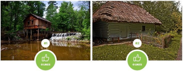 In which wooden house would you rather spend your life? With a waterfall or a meadow