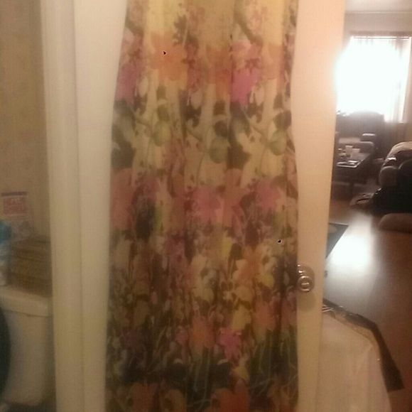 Floral chiffon maxi dress Floral chiffon maxi w/satin slip underneath (never worn) fits like an XL. Dresses Maxi