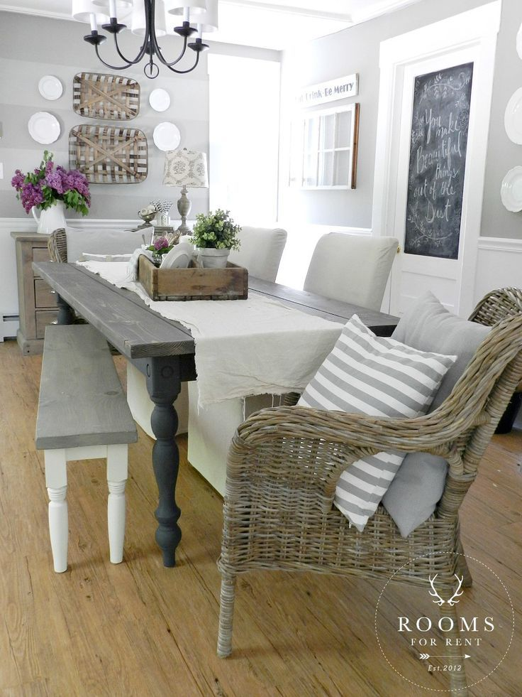 A Neutral Farmhouse Dining Room Painted In Woodsmoke By Glidden