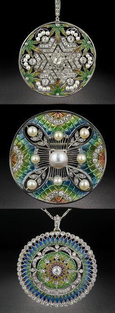 Three plique-a-jour Art Nouveau pendants.