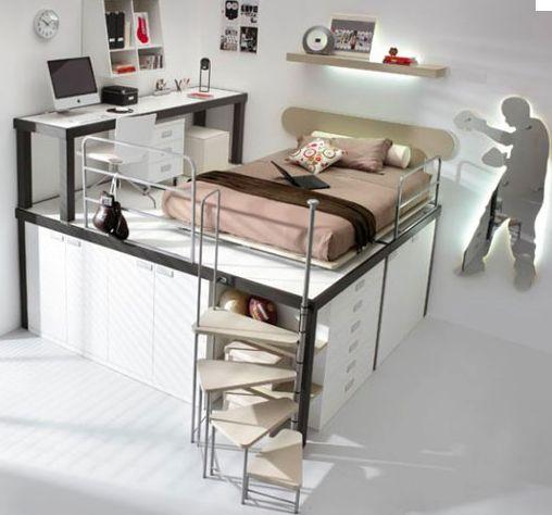 Chambre adolescente design & contemporaine dans les tons rose, blanc et gris. Lit et bureau surélevé sur mezzanine afin de créer des rangements. Le plus déco est le miroir mural lumineux dans boxeur