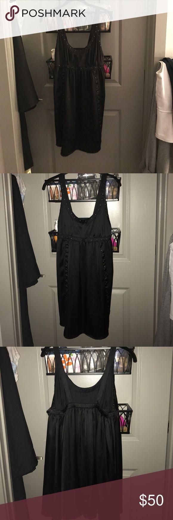 Zara black silk mini dress with gold studs Open back, beautiful going out dress with gold studs on the outlines and sleeves NWOT Zara Dresses Mini