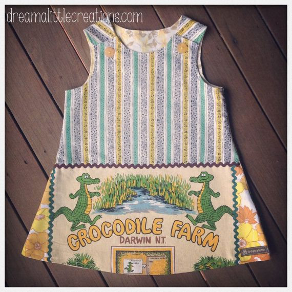 Quirky teatowel aline pinny dress Crocodile by dreamalittleshoppe