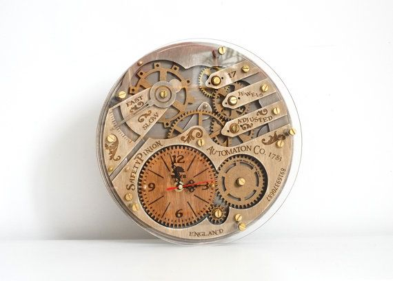 Automaton 1783 unique vintage wooden wall clock by wandrstore