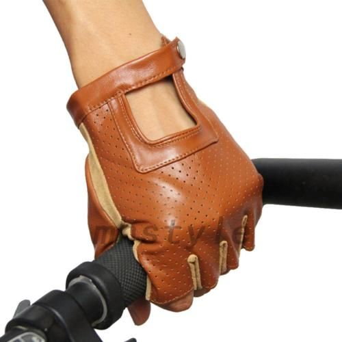 Real-Leather-Sheepskin-Fingerless-Driving-Gloves-Motorcycle-Biker-Accessories
