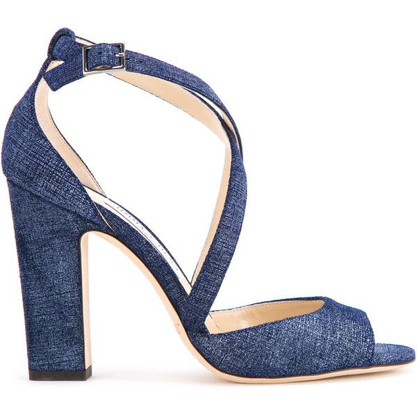 Jimmy Choo Carrie 100 denim sandals ($695) ❤ liked on Polyvore featuring shoes, sandals, blue, strappy high heel sandals, blue shoes, jimmy choo sandals, monk-strap shoes and strap sandals