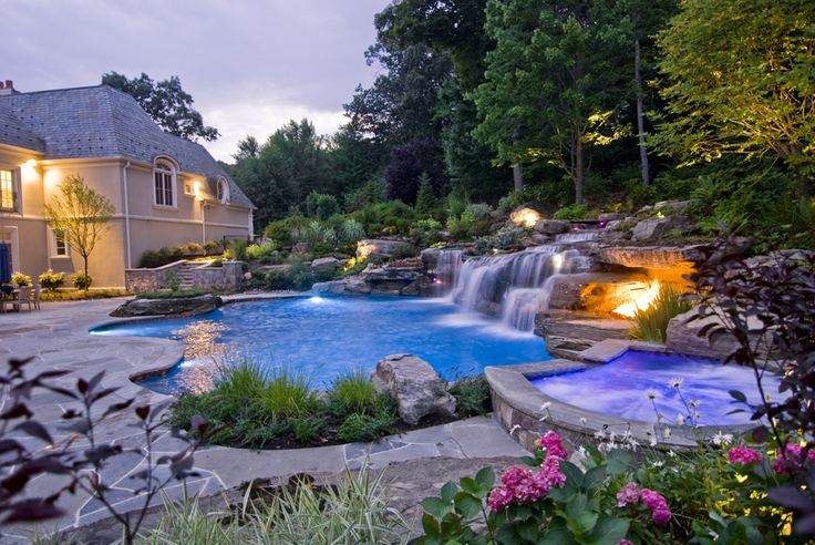 Gorgeous pool with waterfall landscapingIdeas, Backyards Pools, Dreams Backyards, Dreams House, Hot Tubs, Landscapes, Dreams Pools, Nature Swimming Pools, Pools Design