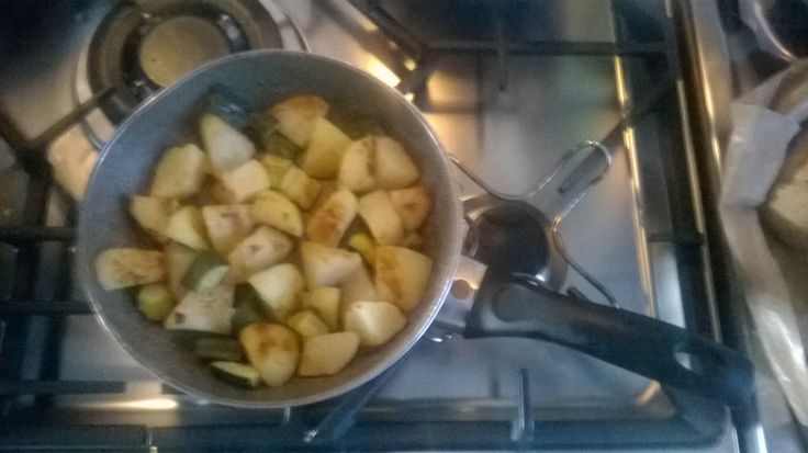 Rustic potatoes-cooked in the pan.