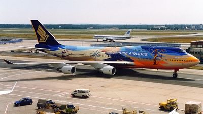 Singapore Airlines (SG) Boeing 747-412 9V-SPK aircraft, painted in ''Tropical'' special colours, skating at Germany Frankfurt am Main (Rhein-Main) International Airport. 30/09/1998.