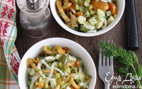 Картофельный салат с грибами и маринованным луком | Кулинарные рецепты от «Едим дома!»
