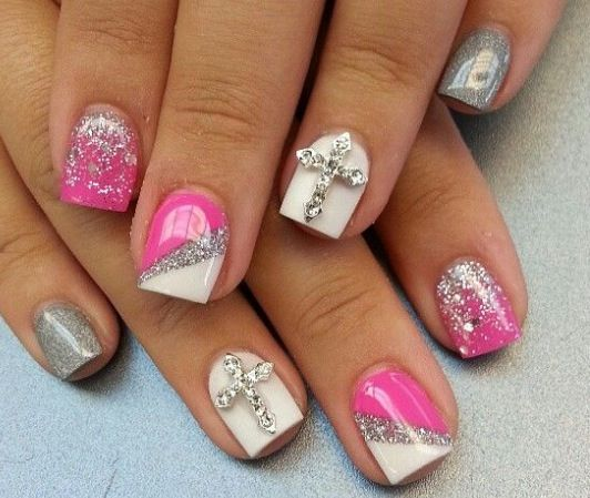 Hot pink nail design girly nail design pinterest for Acrylic nail decoration