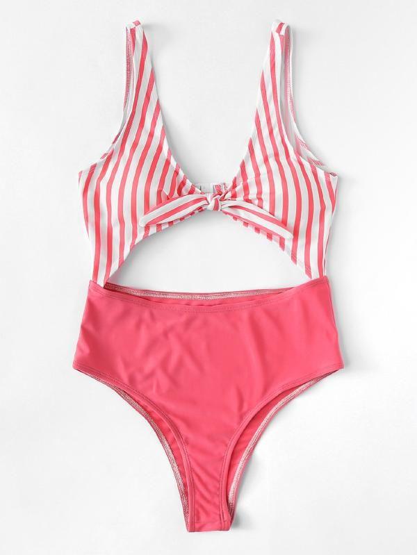 ea974e69ce Knot Front Cutout Mixed & Match Swimsuit -SheIn(Sheinside) | clothes ...