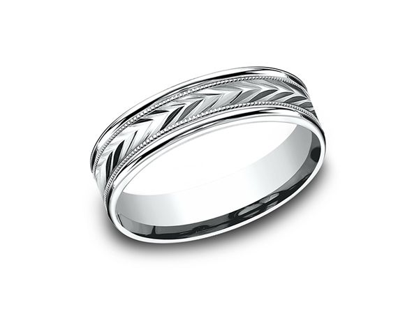 This Remarkable 10 Karat White Gold 8mm Comfort Fit Carved Wedding Band Features A V White Gold Jewelry Wedding Band Designs Beautiful Bridal Jewelry