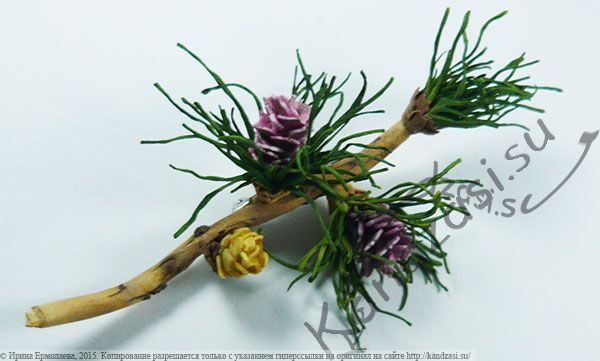 Мастер-класс изготовления веточки лиственницы сибирской с двумя видами цветов-шишек из фоамирана, поэтапные фото