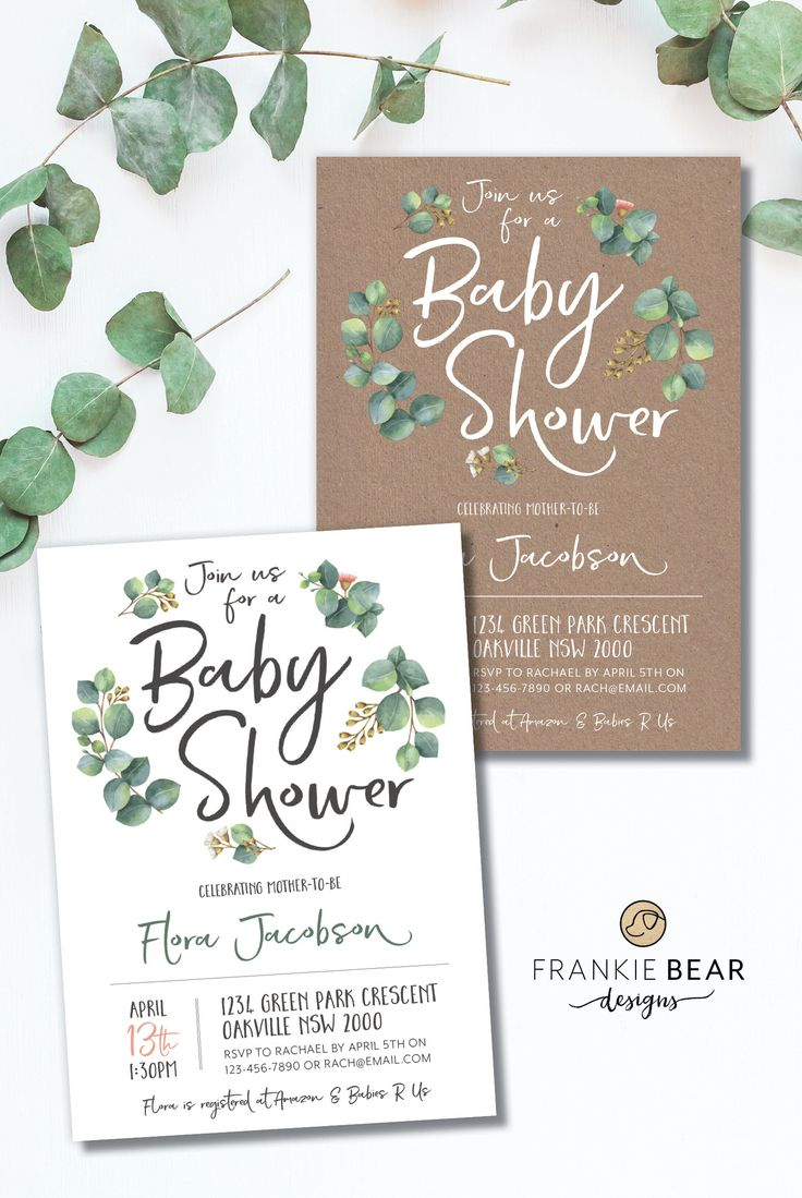GREENERY BABY SHOWER INVITATION | BOTANICAL | NATURAL by Frankie Bear Designs. Wow your guests with this gorgeous greenery baby shower invitation featuring green eucalyptus leaves and cute botanical flowers around a gorgeous script font. Choose between a white or kraft paper background!