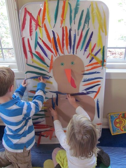 Sticky Paper Turkey by Teach Preschool