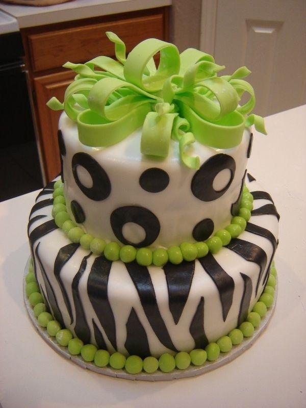 green and white cake