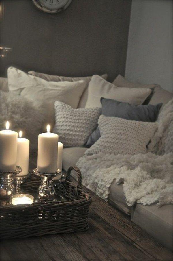 couchtisch holz flechtmbel deko mit kerzen - Schlafzimmer Kerzen