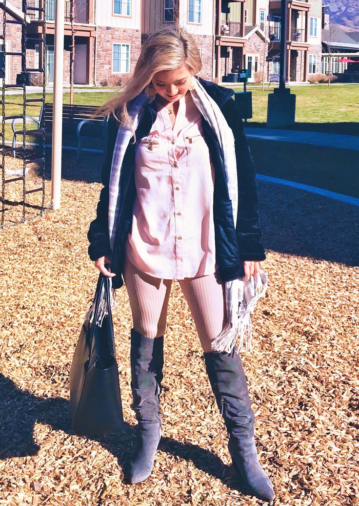 Blush top, nude leggings, gray boots, and pink and gray scarf // faux fur zip hoodie outfit // blush and gray outfits// blush, gray, and black color palette
