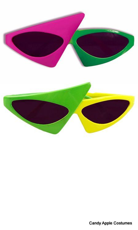 Two-Tone Neon 80's Sunglasses - Candy Apple Costumes