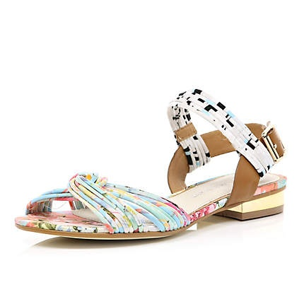 pink print knot front sandals - sandals - shoes / boots - women - River Island