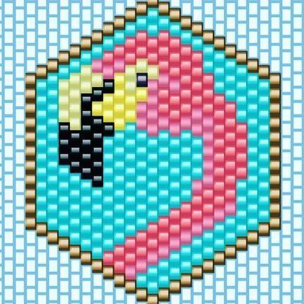 Mon flamant rose est parti vers d'autres horizons... C'est parti pour en perler un autre! #miyuki #diagrammeperles #brickstitch #pierrotethenriette #flamingo #flamantrose #miyukibeads #jenfiledesperlesetjassume