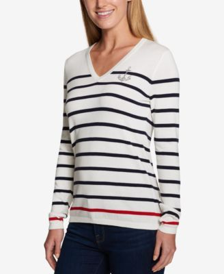 Tommy Hilfiger Striped Anchor Sweater, Created for Macy's