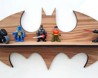 Oak Super hero shelf - Batman Shelf - DC Comics -  Classic Batman shelf - Lego Display - Oak